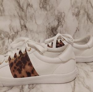 Guess White Cheetah Print Sneakers.
